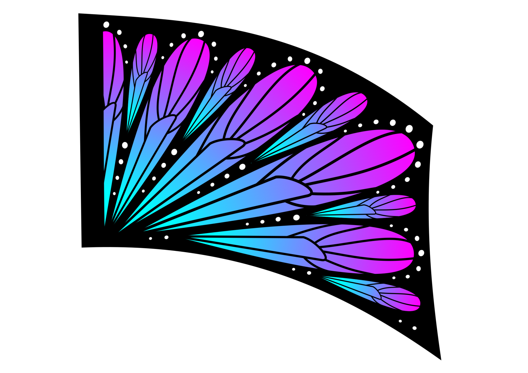 070504s - 36x54 Standard Teal-Pink Ombre Butterfly